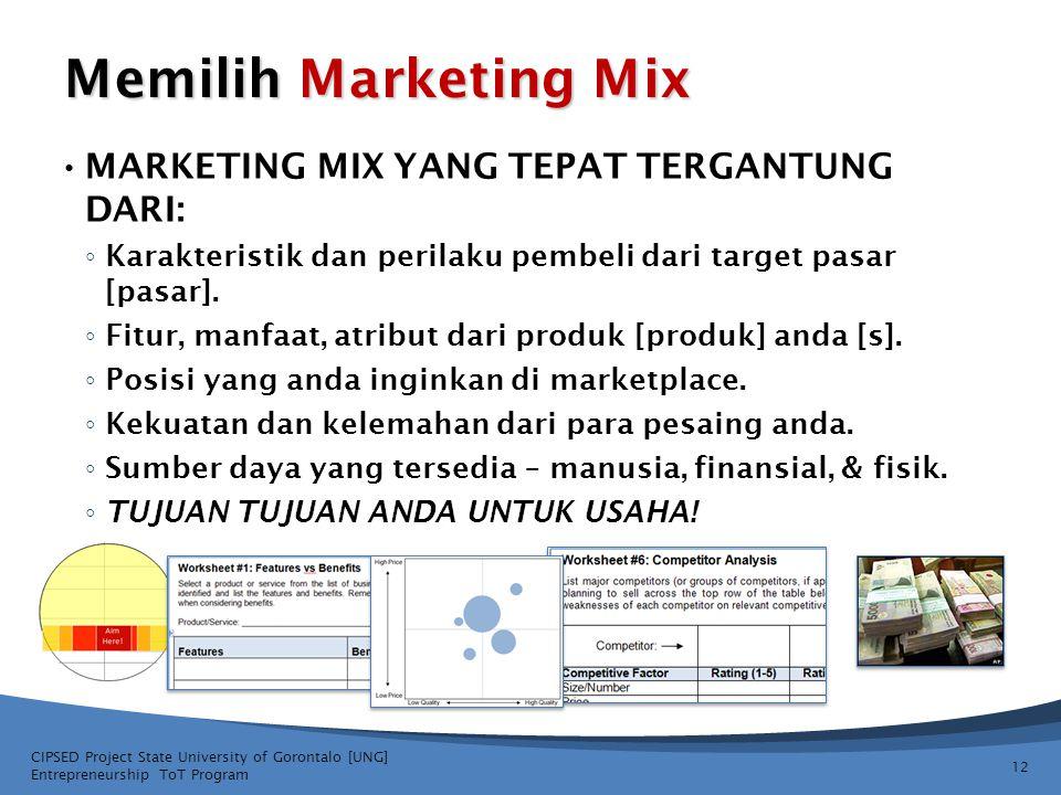 Memilih Marketing Mix MARKETING MIX YANG TEPAT TERGANTUNG DARI: