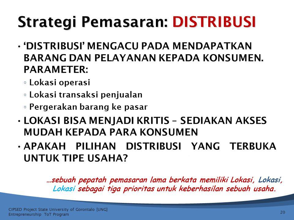 Strategi Pemasaran: DISTRIBUSI