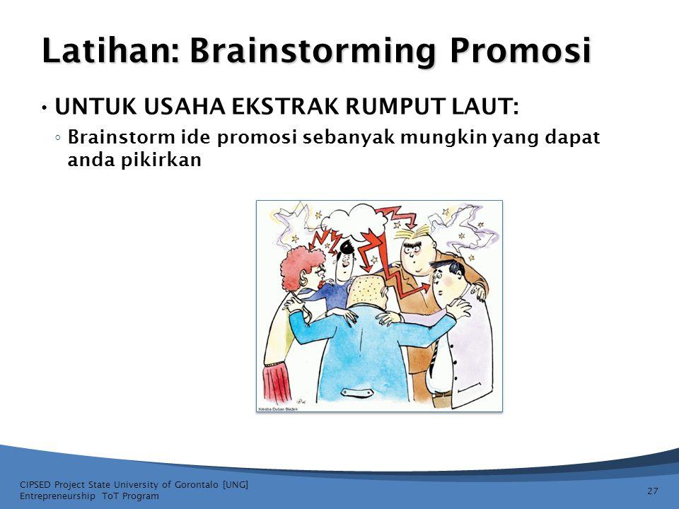 Latihan: Brainstorming Promosi