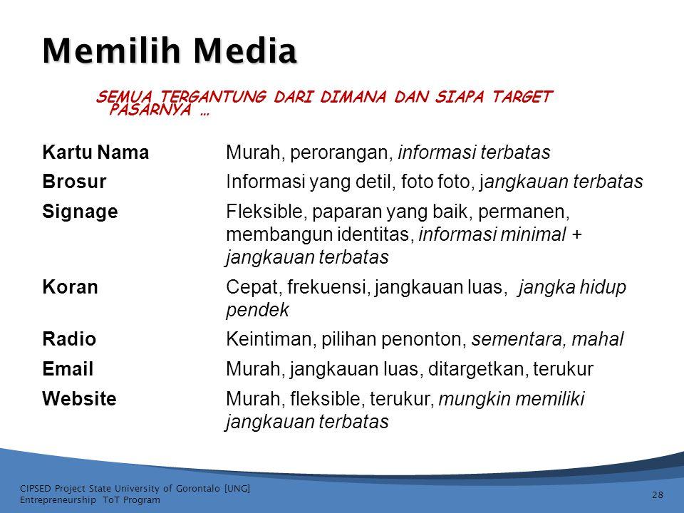 Memilih Media Kartu Nama Murah, perorangan, informasi terbatas Brosur