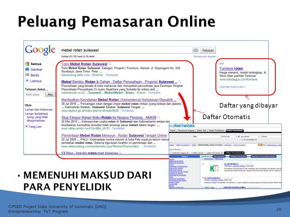 Peluang Pemasaran Online