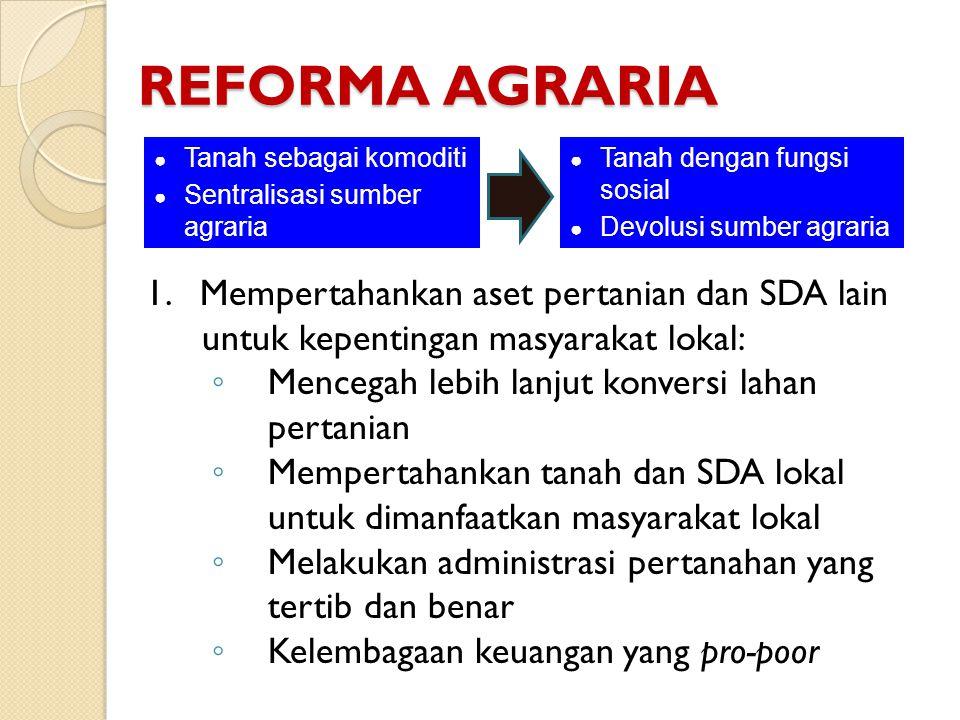 REFORMA AGRARIA Tanah sebagai komoditi. Sentralisasi sumber agraria. Tanah dengan fungsi sosial. Devolusi sumber agraria.