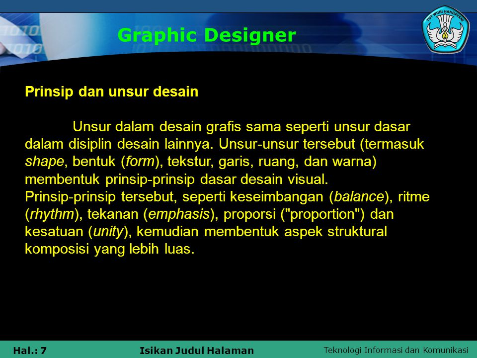 Graphic Designer Prinsip dan unsur desain