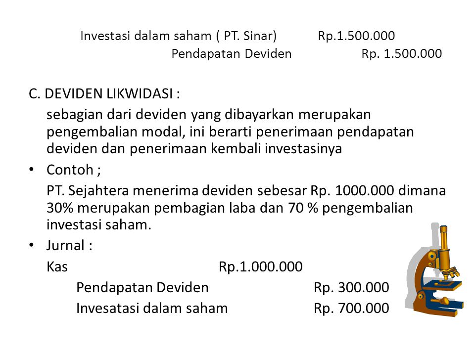 Invesatasi dalam saham Rp. 700.000