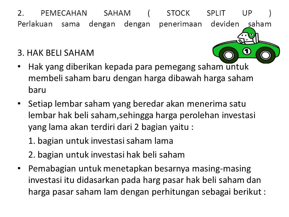 1. bagian untuk investasi saham lama
