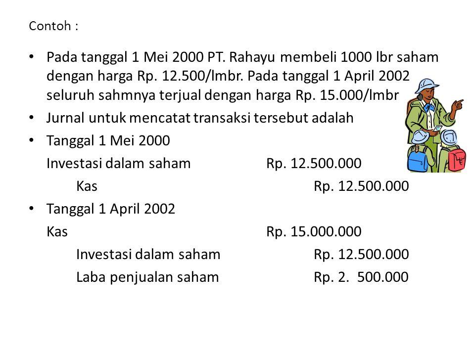 Jurnal untuk mencatat transaksi tersebut adalah Tanggal 1 Mei 2000