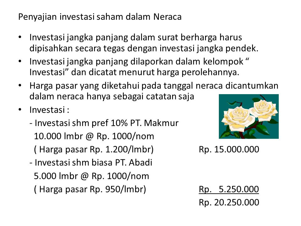 Penyajian investasi saham dalam Neraca