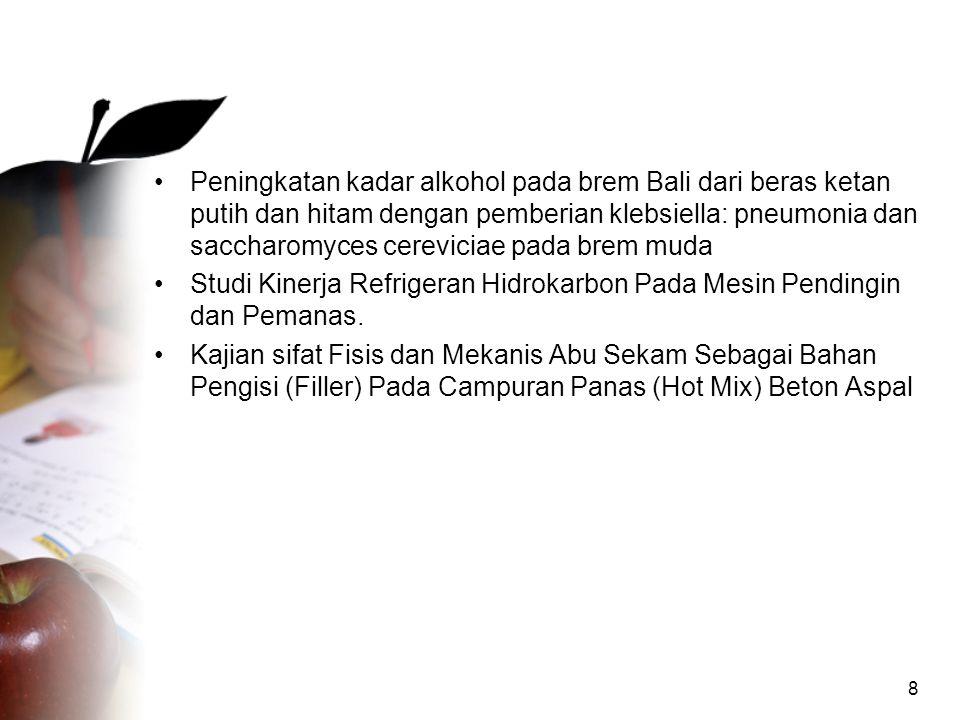 Peningkatan kadar alkohol pada brem Bali dari beras ketan putih dan hitam dengan pemberian klebsiella: pneumonia dan saccharomyces cereviciae pada brem muda