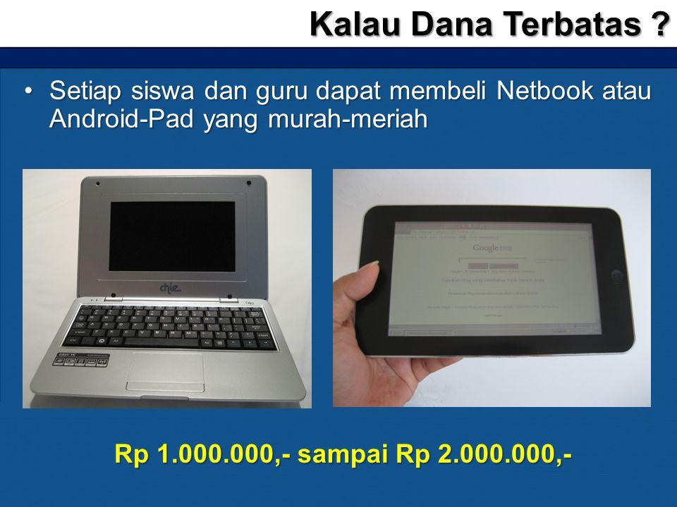 Kalau Dana Terbatas Setiap siswa dan guru dapat membeli Netbook atau Android-Pad yang murah-meriah.