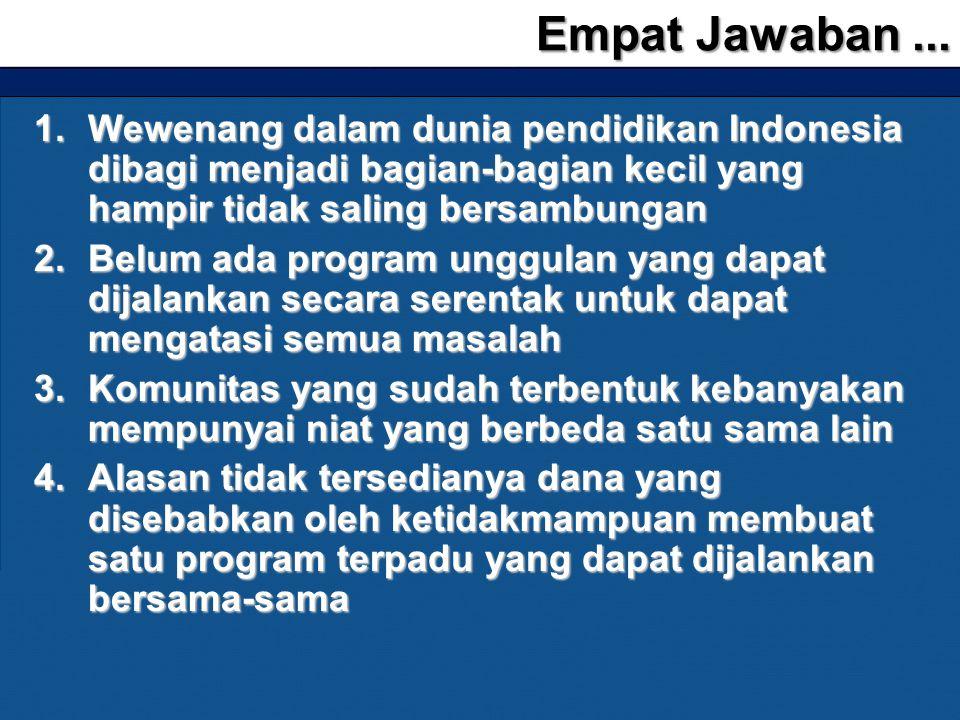 Empat Jawaban ... Wewenang dalam dunia pendidikan Indonesia dibagi menjadi bagian-bagian kecil yang hampir tidak saling bersambungan.