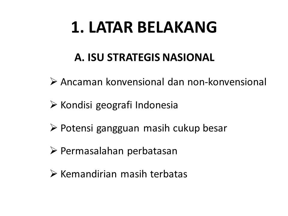 1. LATAR BELAKANG A. ISU STRATEGIS NASIONAL