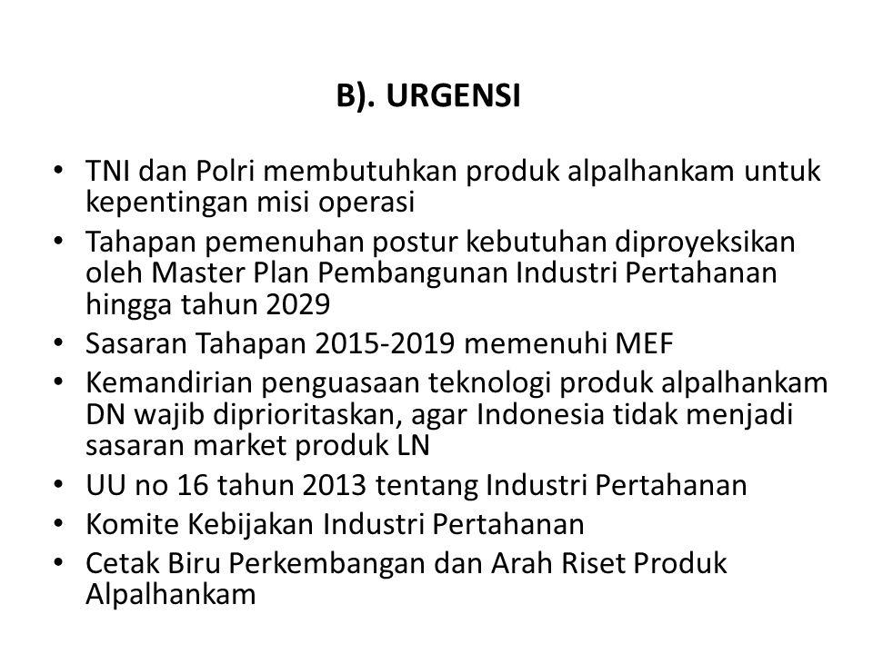 B). URGENSI TNI dan Polri membutuhkan produk alpalhankam untuk kepentingan misi operasi.