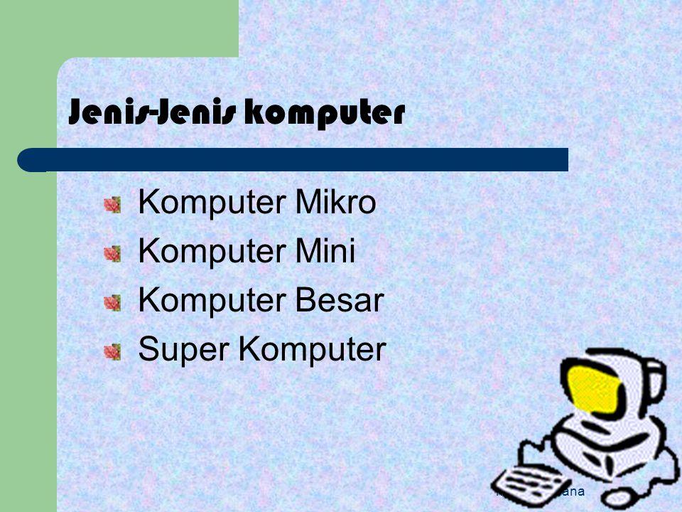 Jenis-Jenis komputer Komputer Mikro Komputer Mini Komputer Besar