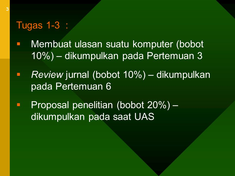 Tugas 1-3 : Membuat ulasan suatu komputer (bobot 10%) – dikumpulkan pada Pertemuan 3. Review jurnal (bobot 10%) – dikumpulkan pada Pertemuan 6.