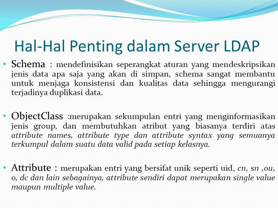 Hal-Hal Penting dalam Server LDAP