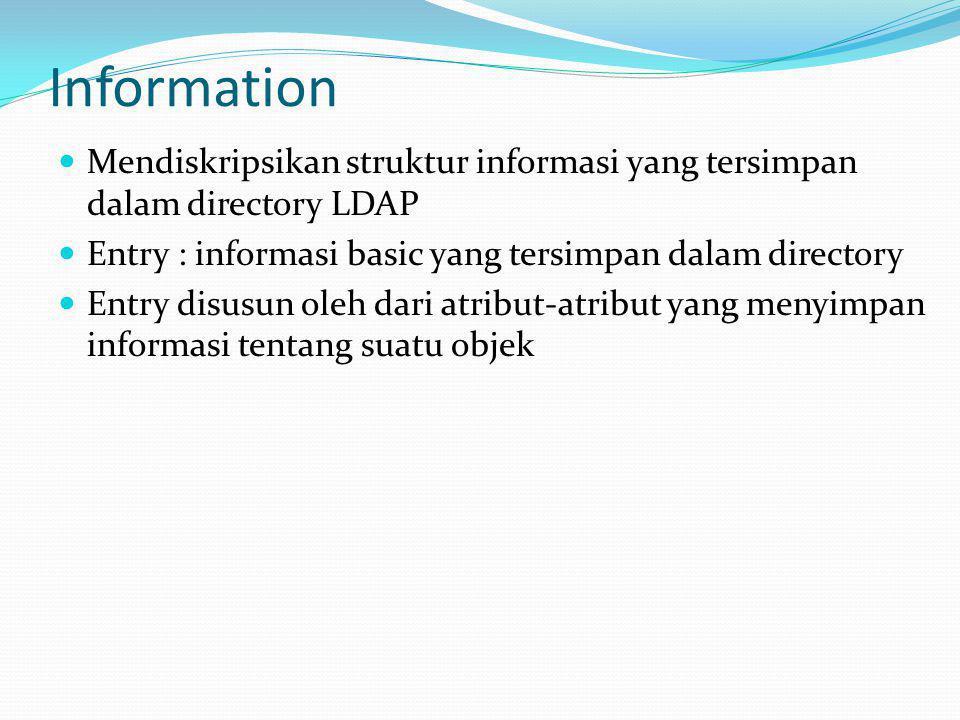 Information Mendiskripsikan struktur informasi yang tersimpan dalam directory LDAP. Entry : informasi basic yang tersimpan dalam directory.