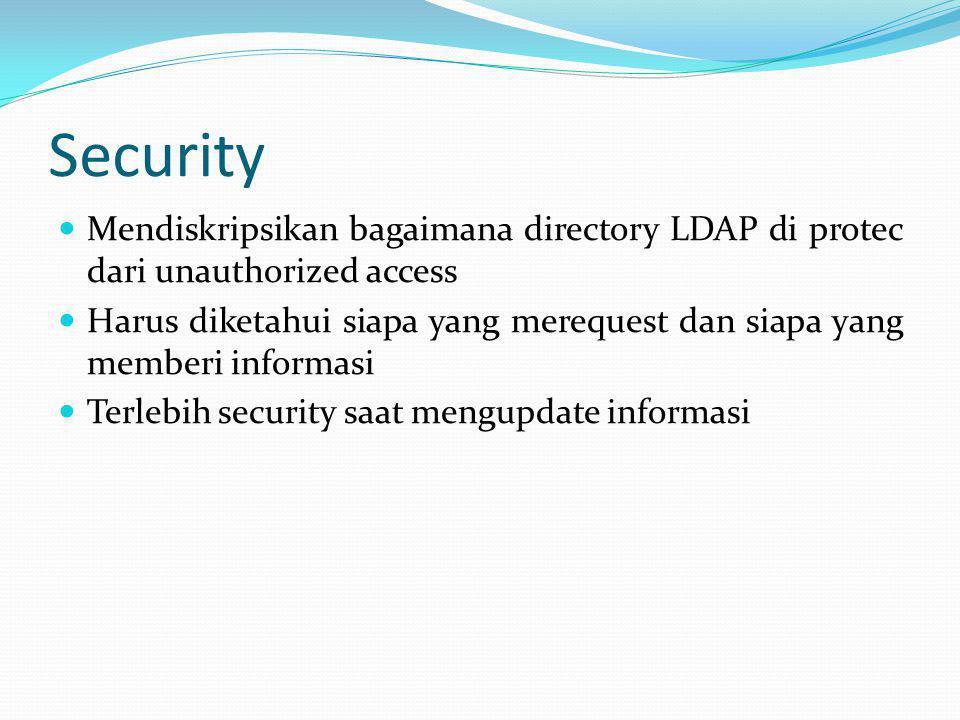 Security Mendiskripsikan bagaimana directory LDAP di protec dari unauthorized access.