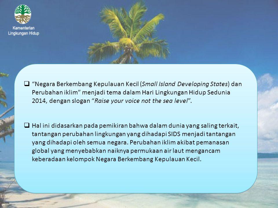 Negara Berkembang Kepulauan Kecil (Small Island Developing States) dan Perubahan iklim menjadi tema dalam Hari Lingkungan Hidup Sedunia 2014, dengan slogan Raise your voice not the sea level .