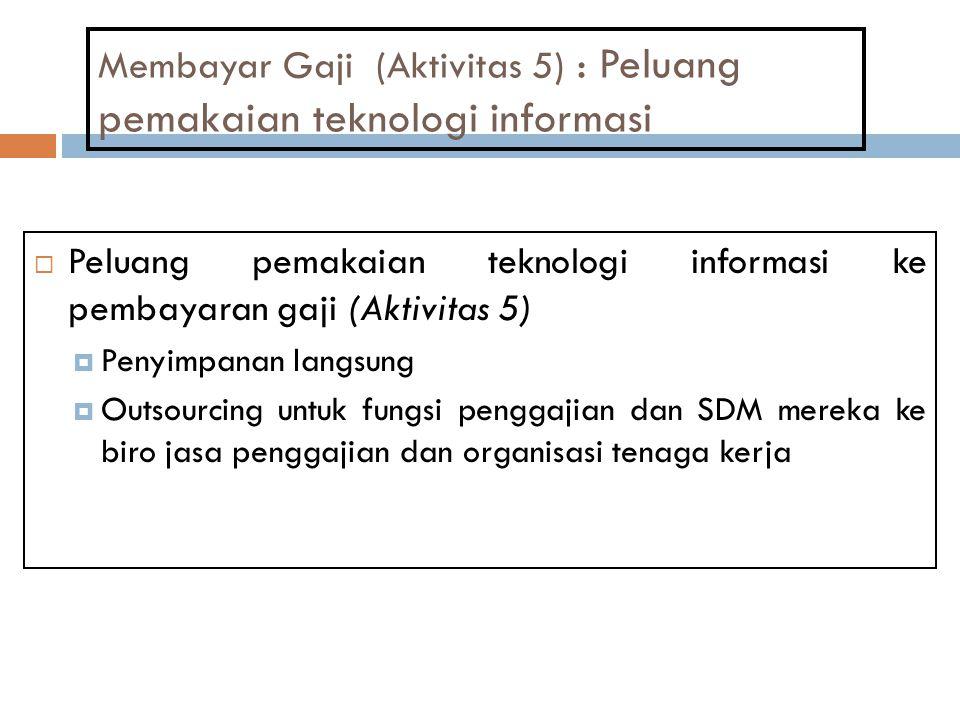 Membayar Gaji (Aktivitas 5) : Peluang pemakaian teknologi informasi