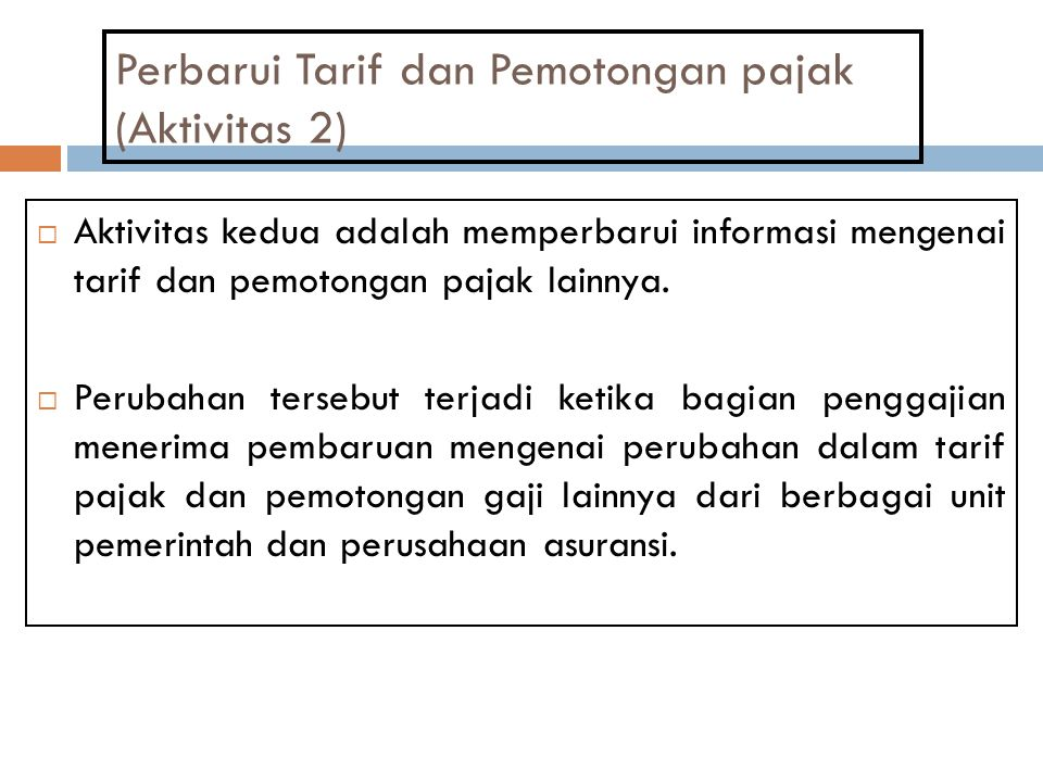 Perbarui Tarif dan Pemotongan pajak (Aktivitas 2)