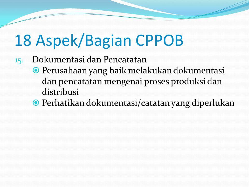 18 Aspek/Bagian CPPOB Dokumentasi dan Pencatatan