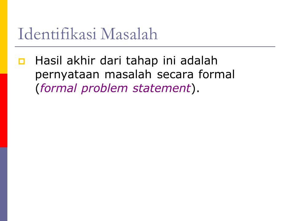 Identifikasi Masalah Hasil akhir dari tahap ini adalah pernyataan masalah secara formal (formal problem statement).