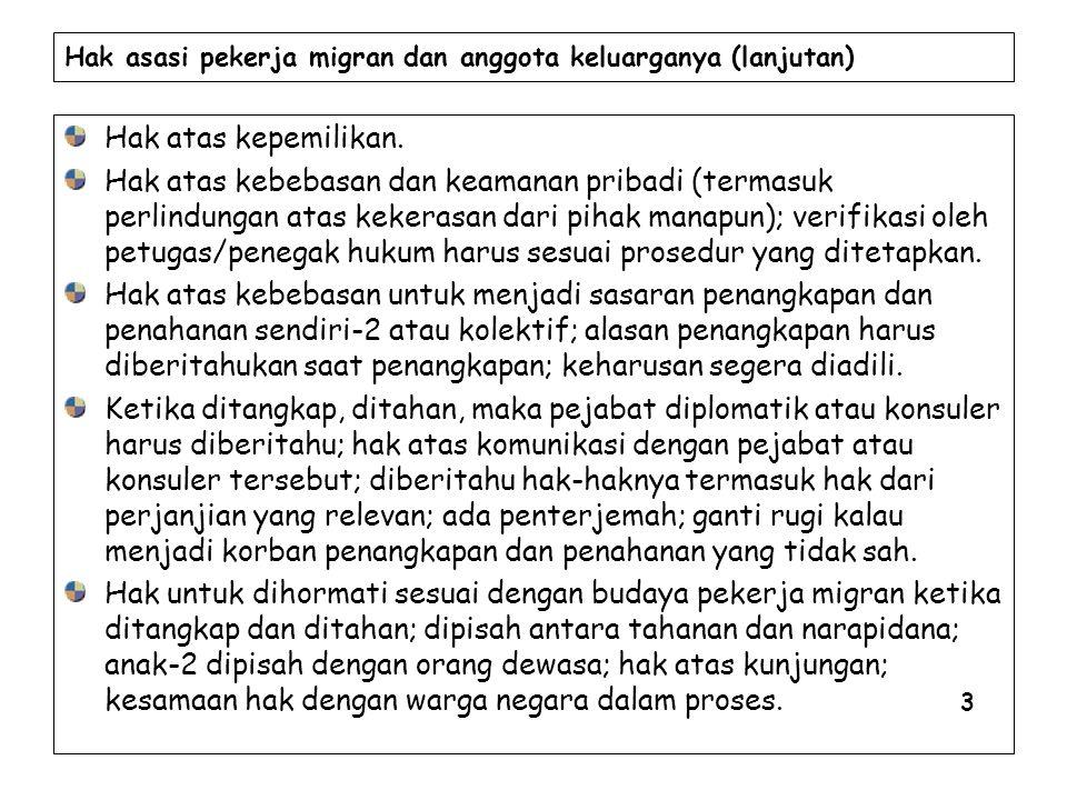 Hak asasi pekerja migran dan anggota keluarganya (lanjutan)