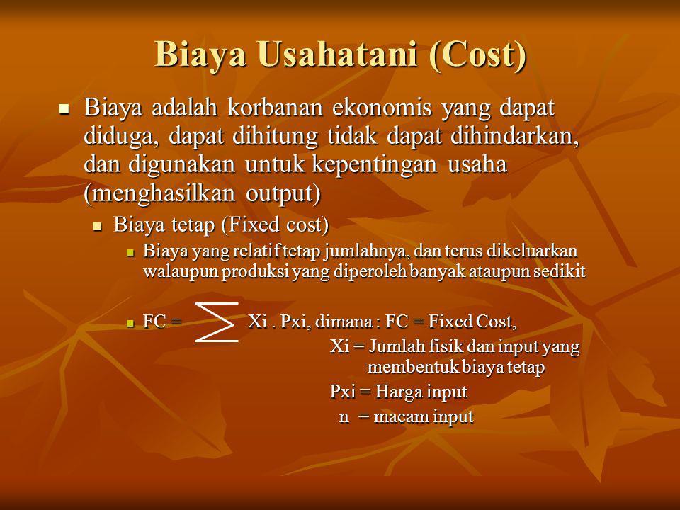 Biaya Usahatani (Cost)