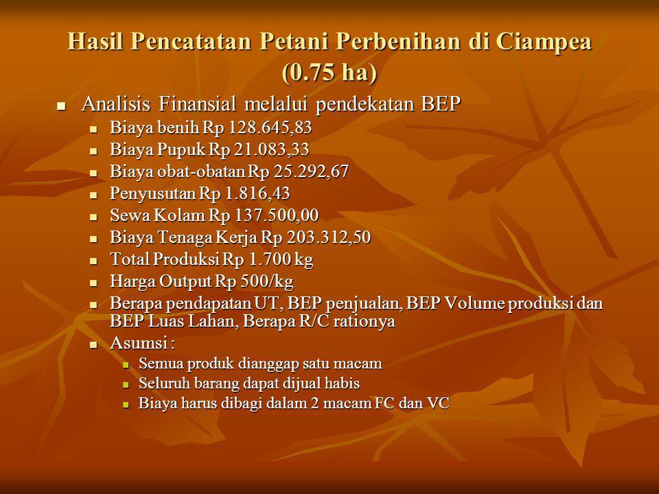 Hasil Pencatatan Petani Perbenihan di Ciampea (0.75 ha)