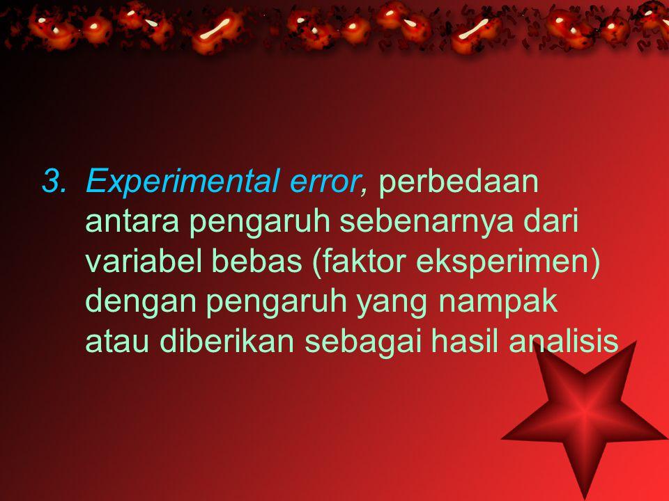 Experimental error, perbedaan antara pengaruh sebenarnya dari variabel bebas (faktor eksperimen) dengan pengaruh yang nampak atau diberikan sebagai hasil analisis