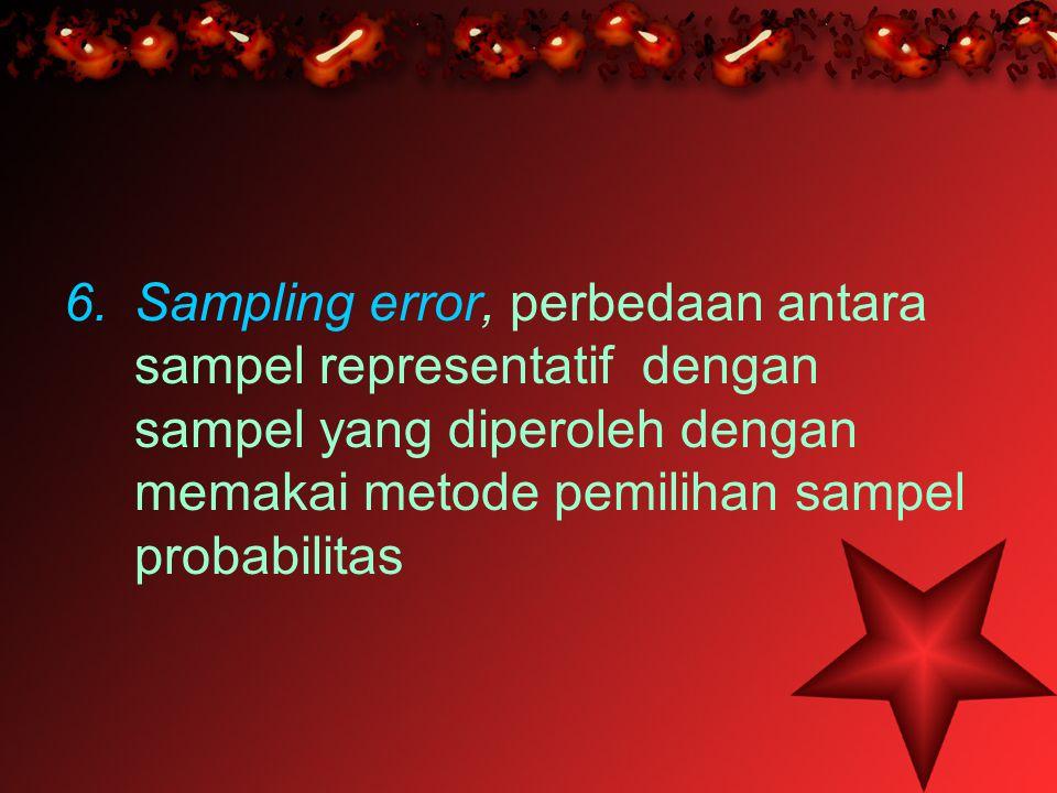 Sampling error, perbedaan antara sampel representatif dengan sampel yang diperoleh dengan memakai metode pemilihan sampel probabilitas