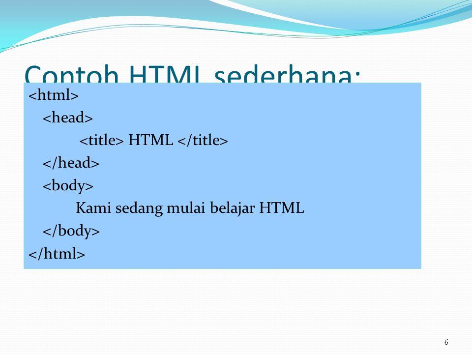 Contoh HTML sederhana: