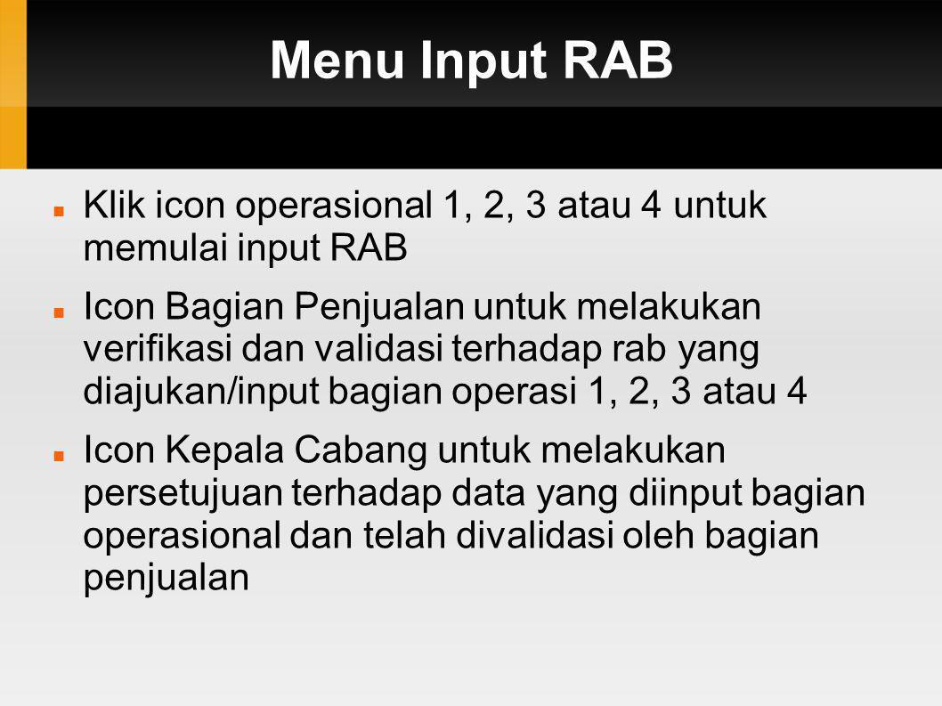 Menu Input RAB Klik icon operasional 1, 2, 3 atau 4 untuk memulai input RAB.