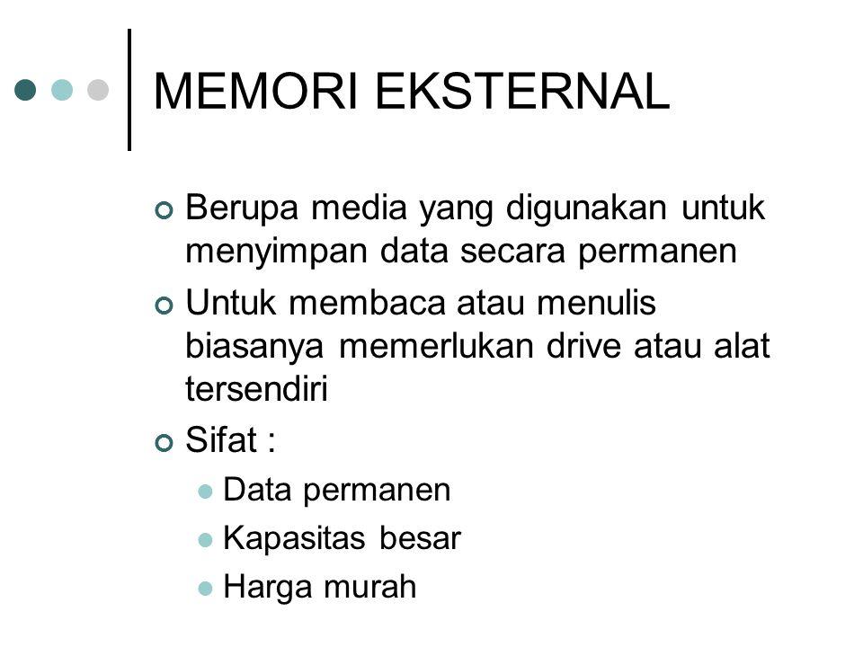 MEMORI EKSTERNAL Berupa media yang digunakan untuk menyimpan data secara permanen.