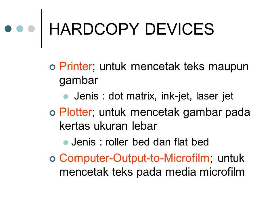 HARDCOPY DEVICES Printer; untuk mencetak teks maupun gambar