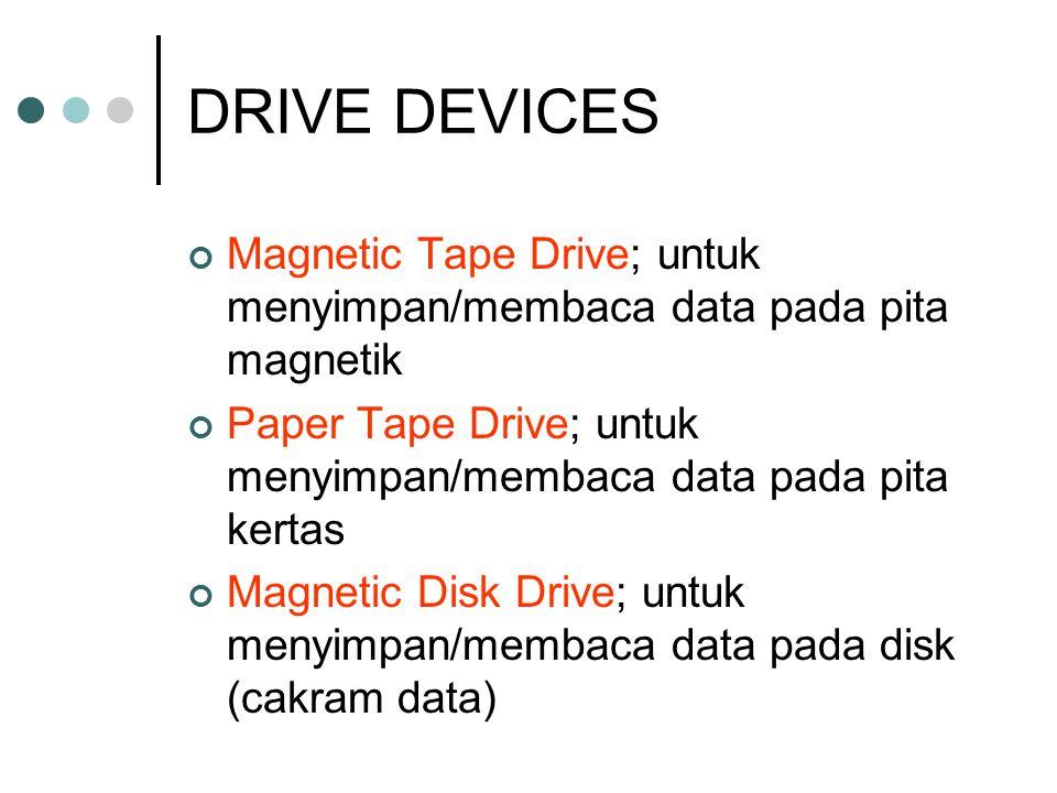 DRIVE DEVICES Magnetic Tape Drive; untuk menyimpan/membaca data pada pita magnetik. Paper Tape Drive; untuk menyimpan/membaca data pada pita kertas.