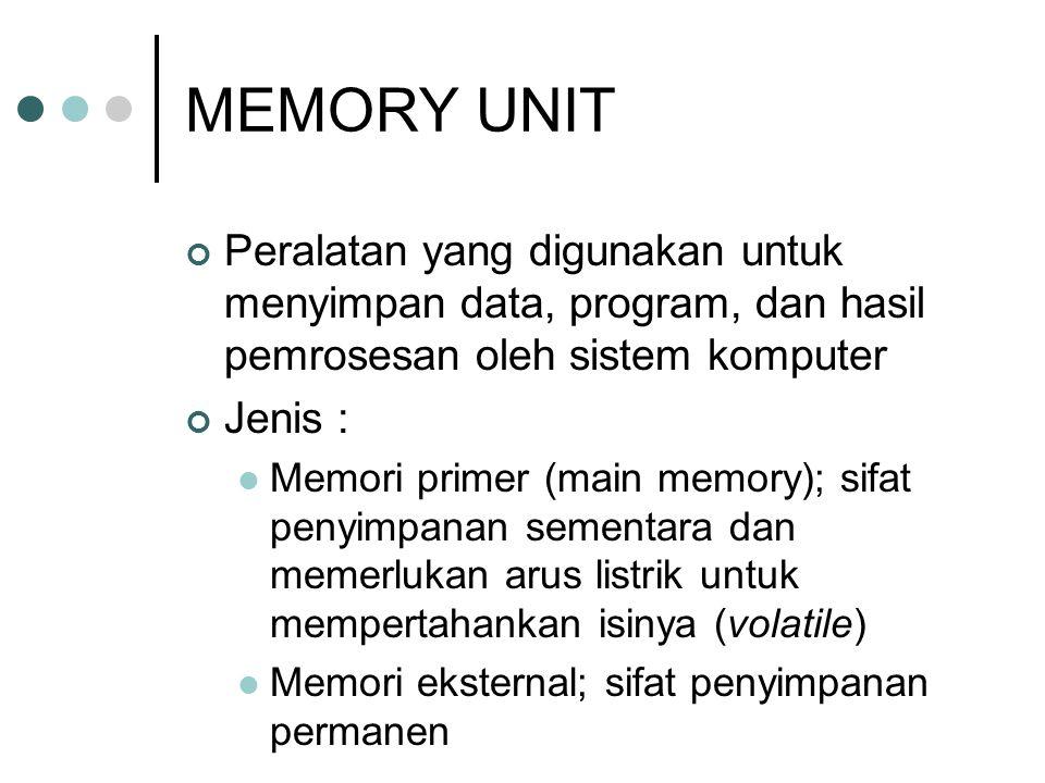MEMORY UNIT Peralatan yang digunakan untuk menyimpan data, program, dan hasil pemrosesan oleh sistem komputer.