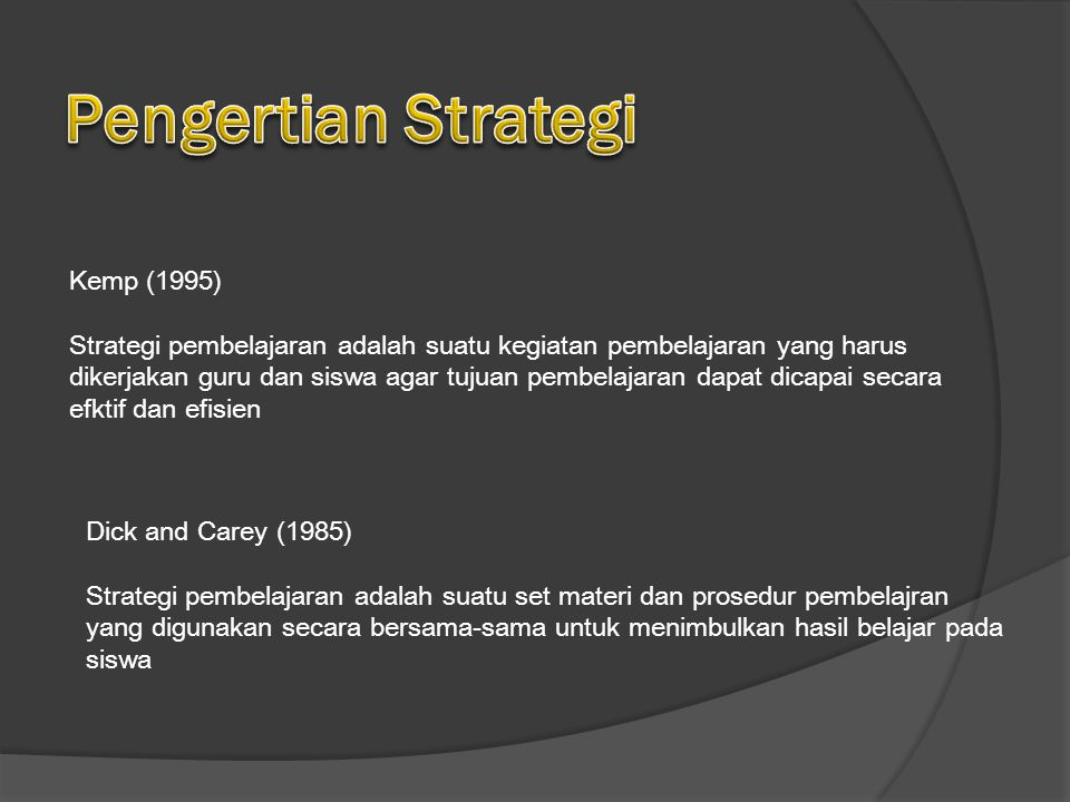 Pengertian Strategi Kemp (1995)