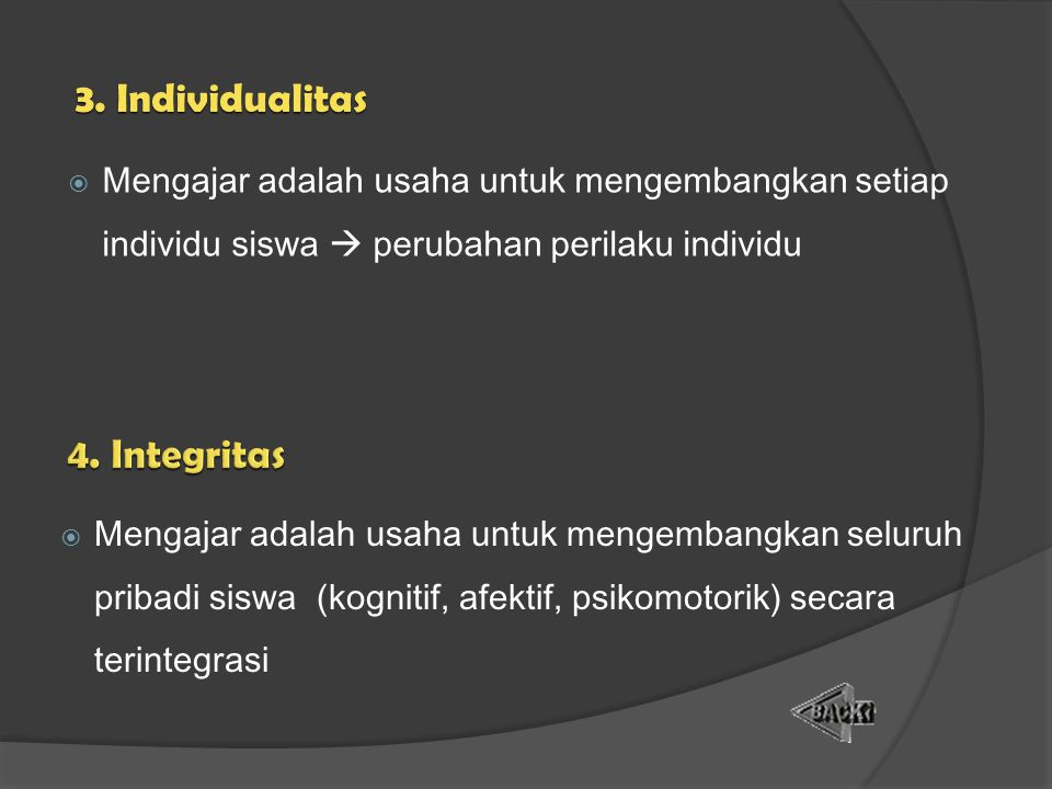 3. Individualitas 4. Integritas