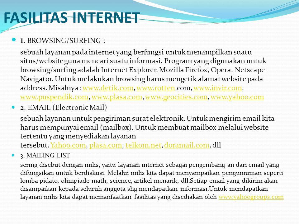 FASILITAS INTERNET 1. BROWSING/SURFING :
