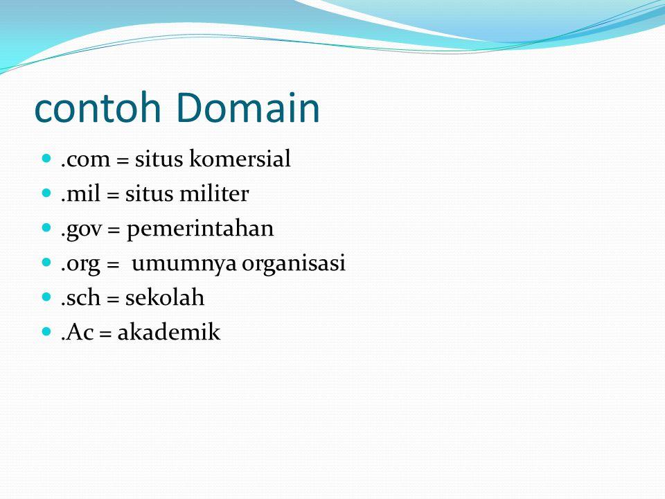 contoh Domain .com = situs komersial .mil = situs militer