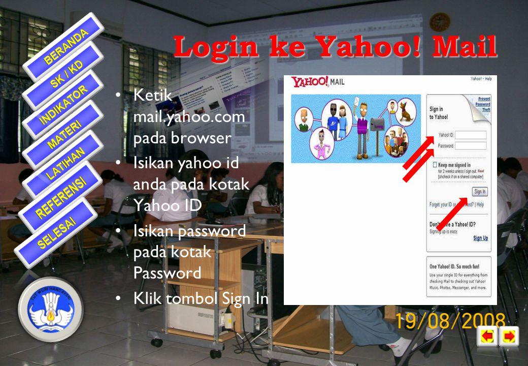 Login ke Yahoo! Mail Ketik mail.yahoo.com pada browser