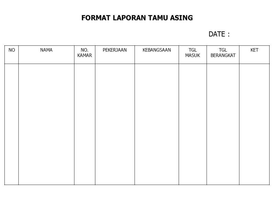 FORMAT LAPORAN TAMU ASING DATE :