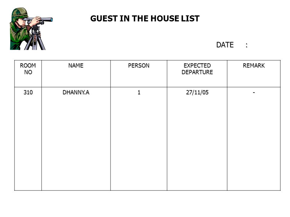 GUEST IN THE HOUSE LIST DATE :