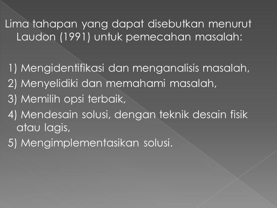 Lima tahapan yang dapat disebutkan menurut Laudon (1991) untuk pemecahan masalah: