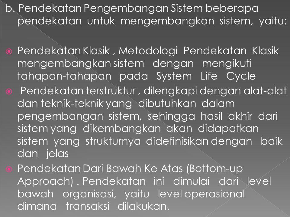 b. Pendekatan Pengembangan Sistem beberapa pendekatan untuk mengembangkan sistem, yaitu: