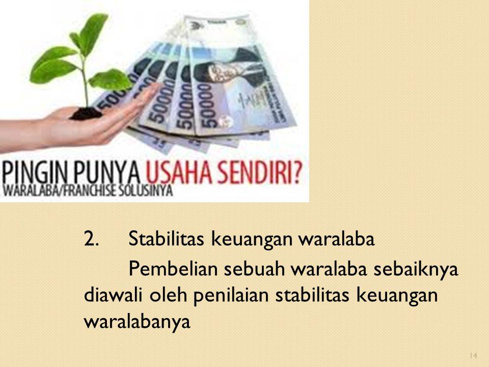 2. Stabilitas keuangan waralaba