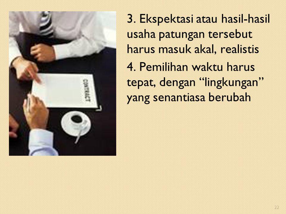 3. Ekspektasi atau hasil-hasil usaha patungan tersebut harus masuk akal, realistis 4.