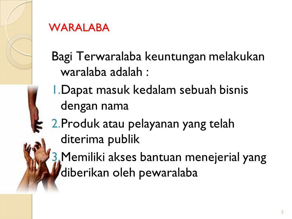 Bagi Terwaralaba keuntungan melakukan waralaba adalah :