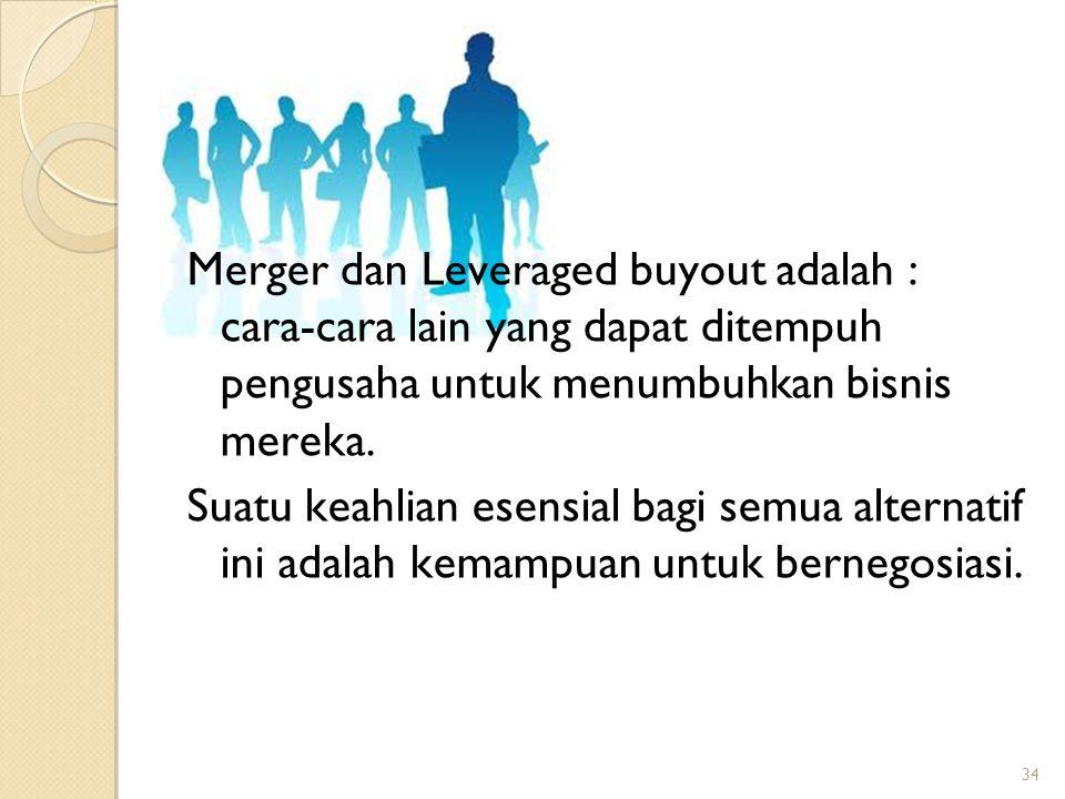 Merger dan Leveraged buyout adalah : cara-cara lain yang dapat ditempuh pengusaha untuk menumbuhkan bisnis mereka.